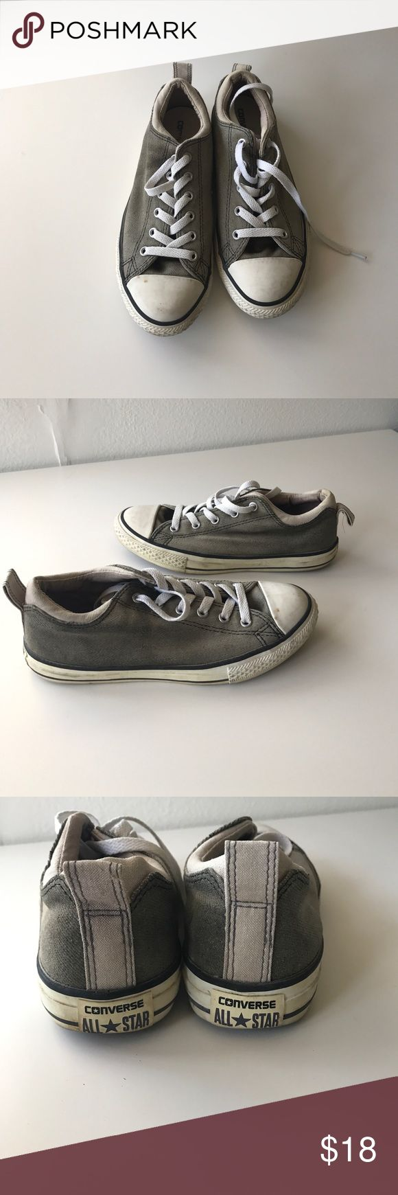 Converse shoes PRICE FIRM UNLESS Bundled. 10% off bundles. Normal wear and tear. Grayish with brown undertones. Distressed look. A lot of life left in them still in great condition. 1005 Converse Shoes Sneakers