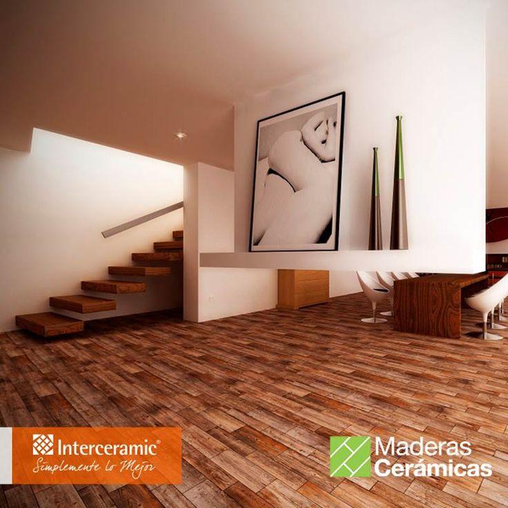 La madera se distingue por su calidez, combinación con otro materiales y acabado decorativo. Conoce la línea Sunwood de #Interceramic, #piso color cowboy brown esmaltado.