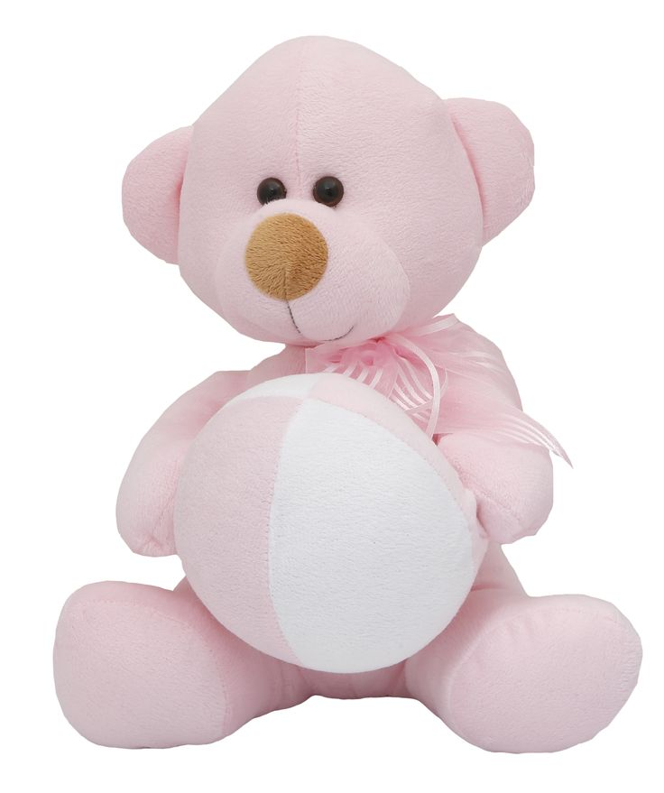 We make Teddy Bears the way they should be made, with child-safe eyes and fur that's soft, washable, flame resistant, and hypoallergenic. Our Baby Girl Bear is dressed in a pink bib. Personalization Option: The card can be personalized with a name and date of birth. #NewBaby #TeddyBear