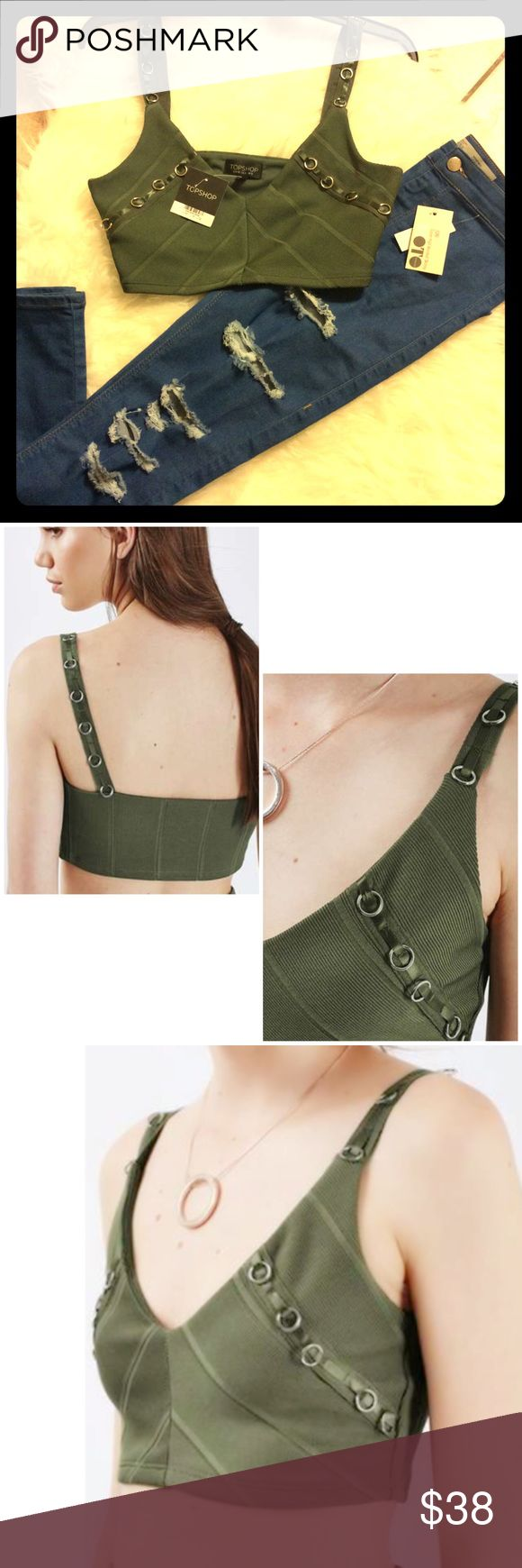 TopShop Brit Bandage Crop Tank military Green New w Tags. Punk Rock Ring Tank. Military Green Bandage crop top. ~Top shown with Joni Extreme High Waist Jeans from TopShop also. Listed separately.  Please take a l👀k!!! 20% discount on two items!     💕☀ Topshop Tops Tank Tops