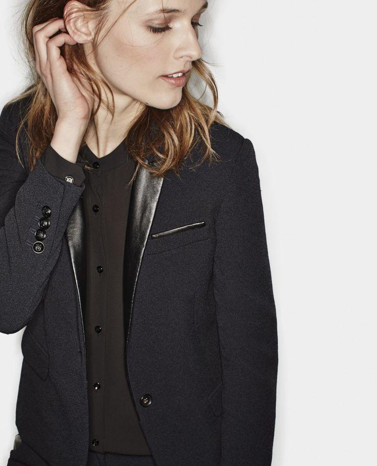 veste en cr pe col en cuir vestes femme the kooples vests pinterest the o 39 jays. Black Bedroom Furniture Sets. Home Design Ideas