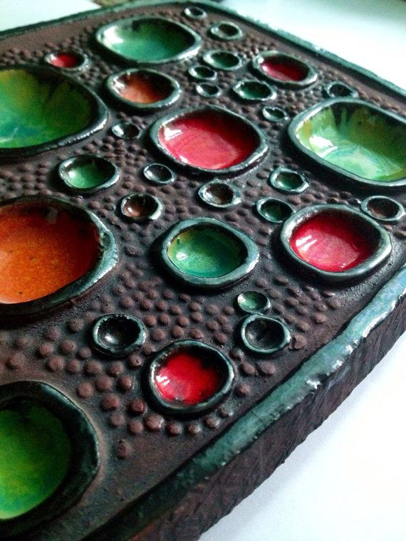 Swedish ceramic plaque. Lars Bergsten 60s vintage fantastic art wall hanging home decor
