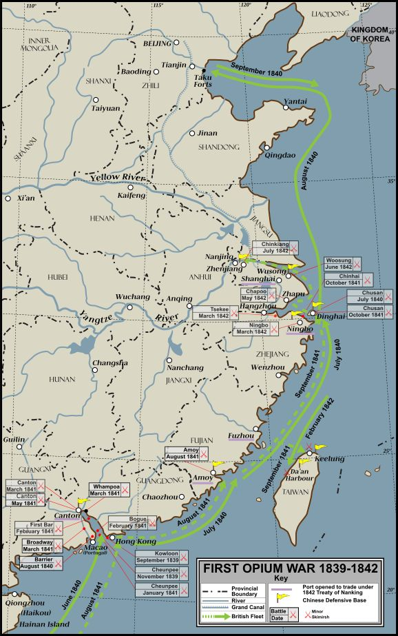 First Opium War 1839-42 Conflict Overview. Interactive map
