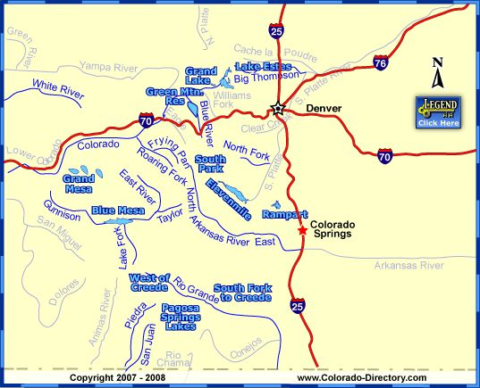 Colorado map of fishing in rivers lakes streams for Colorado fly fishing map