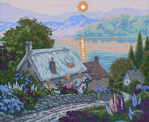Collection d'Art:11.513 -    CANVAS ONLY - Penelope Antique Canvas, colour printed design. Canvas size 50cm X 60cm with DMC & Anchor thread recommendations.