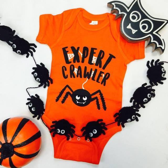 Expert Crawler Halloween Unisex Onsie ~ Sugar-N-Spice children's Boutique ~ baby Halloween outfit. Baby Halloween Onsie. Halloween outfits for baby. Infant Halloween