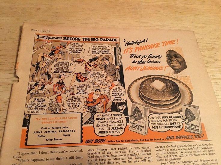 Vintage 1945 Magazine Ad - AUNT JEMIMA PANCAKES #AuntJemimaPancakes