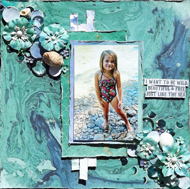 Scraps of Darkness scrapbook kits: Laura Gilhuly created this fabulous ocean beach layout with our July 2016 kit 'An Ocean Tale'.…