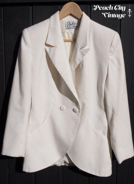 White Linen Women's Blazer by PeachCityVintage on Etsy