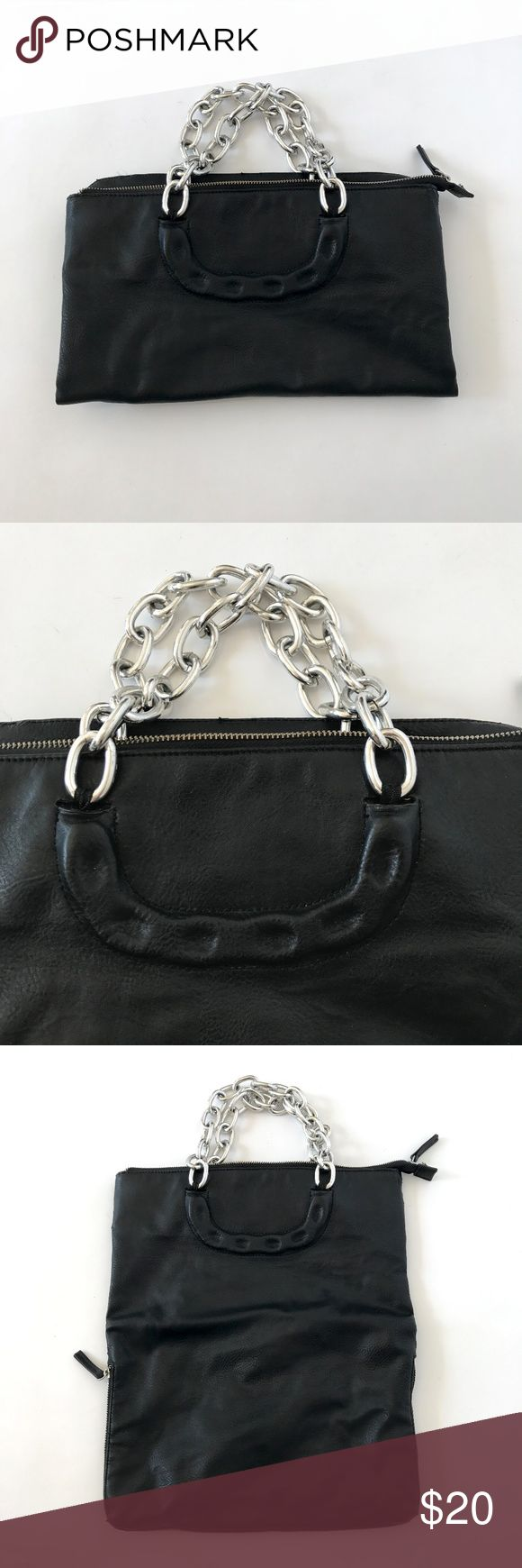 "Deena & Ozzy Black Faux Leather Chain Clutch Bag Deena & Ozzy Black Faux Leather Chain Handbag Oversized Clutch Silver Purse Big  Oversized handbag/clutch with detachable strap. Chunky silver shoulder chains. Top zipper closure. Bag can be worn unfolded, or folded into a clutch. Bottom zipper expands the handbag.  Good condition. Some peeling around the edges/seams of the bag.  16"" H (can be folded over) x 13"" W x .5""D  Please check out my Trixy Xchange Closet for more handbag Deena & Ozzy…"