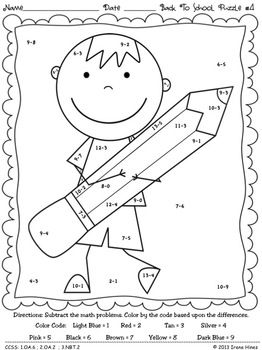 Back To School Basics ~ Math Printables Color By The Code Puzzles To Practice Basic Addition And Subtraction Facts. ~This Unit Is Aligned To The CCSS. Each Page Has The Specific CCSS Listed.~ This set includes 6 school themed math puzzles to practice basic addition and subtraction facts. There are 3 addition puzzles and 3 subtraction puzzles. $