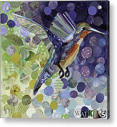 Torn Paper Collage Acrylic Prints - Hummingbird Acrylic Print by Beth Watkins