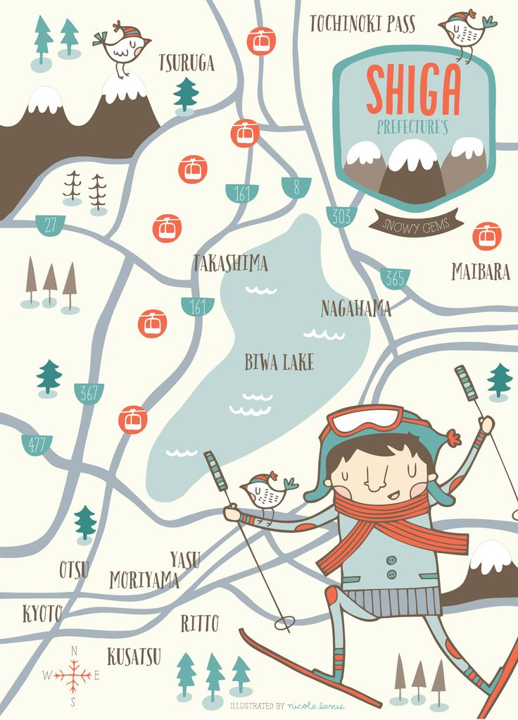 Shiga Prefecture Ski Resorts Map, Nicole LaRue illustration & design