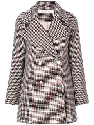 See By Chloé houndstooth pea coat