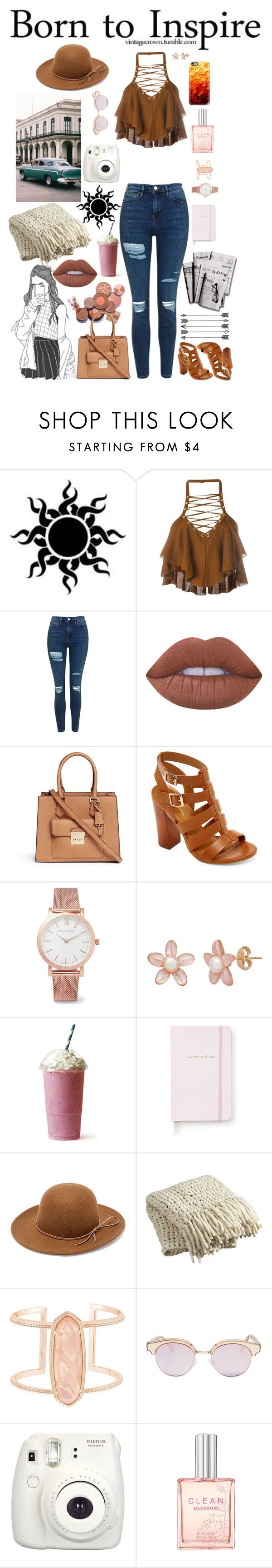 """""""Born To Inspire"""" by carmen-alejandra ❤ liked on Polyvore featuring Balmain, Topshop, Lime Crime, Michael Kors, Bamboo, Larsson & Jennings, Kate Spade, 7 For All Mankind, RHYTHM and CB2"""
