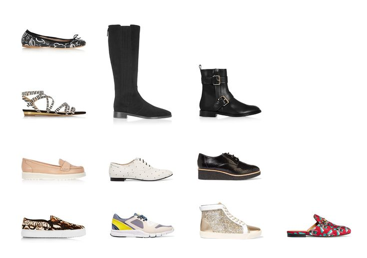 Обувь на плоской подошве для типа фигуры Песочные часы