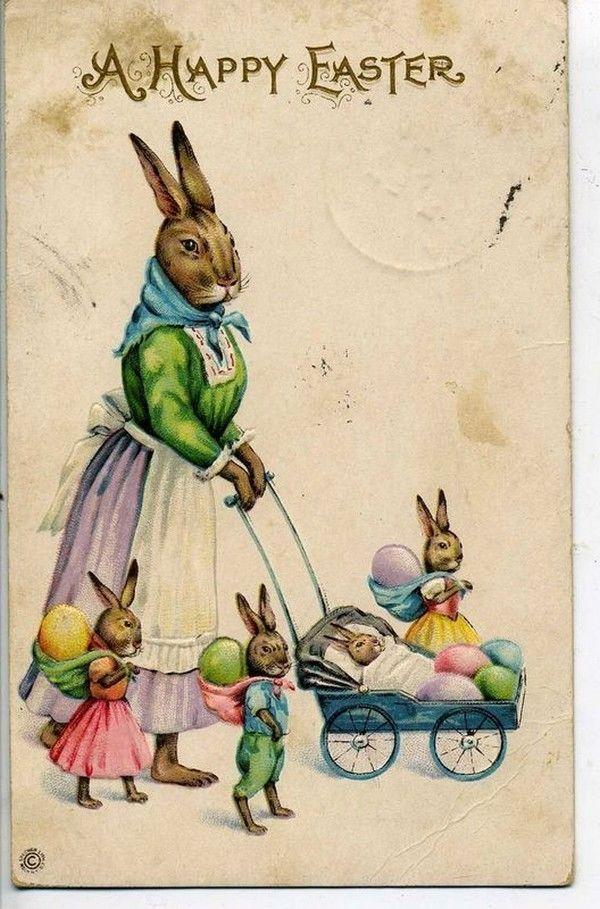 Девушек открытках, пасхальные открытки с зайцами