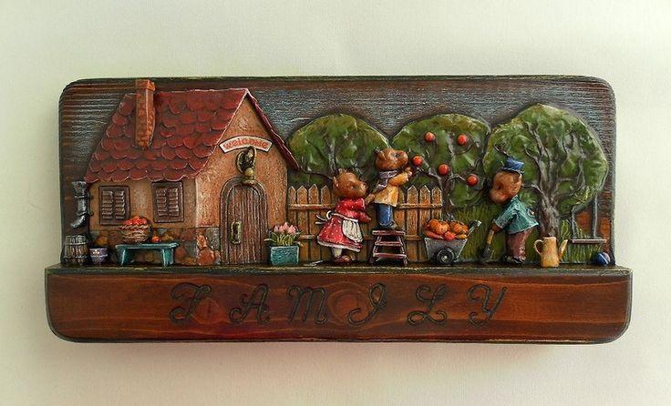 Papier mache on wood. Bas-relief. Thumbnail.