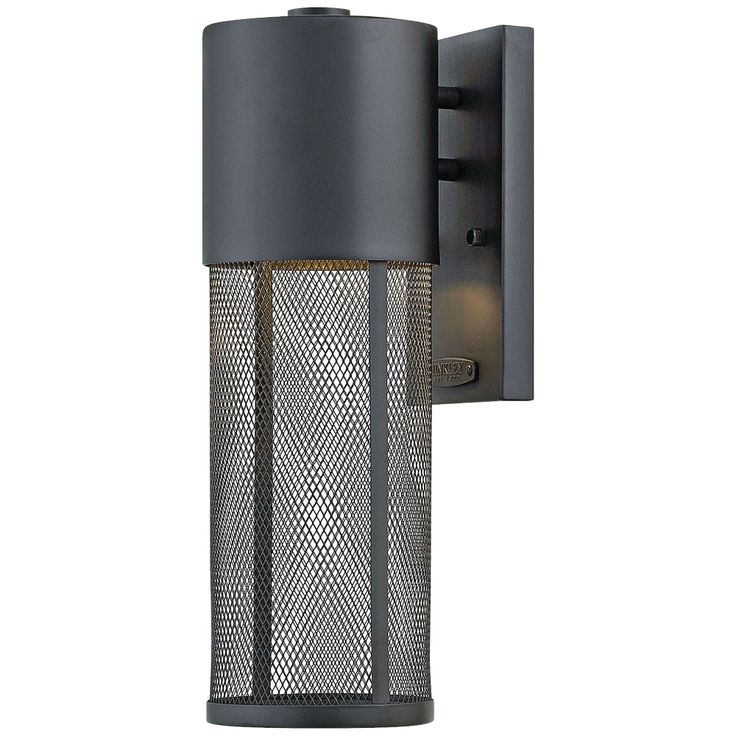 """Aria 15 1/2""""H Black and Steel Mesh LED Outdoor Wall Light - Style # 21M68"""