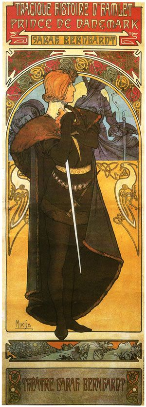 """Hamlet by Alphonse Mucha, 1899. Lithograph, 205.7 x 76.5 cm (6' 8.98"""" x 30.12"""") Private Collection"""