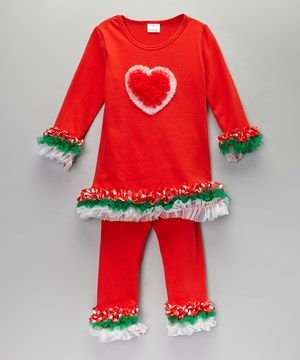 Red & Green Holiday Heart Top & Pants - Infant, Toddler & Girls by Sweet Cheeks #zulily #zulilyfinds