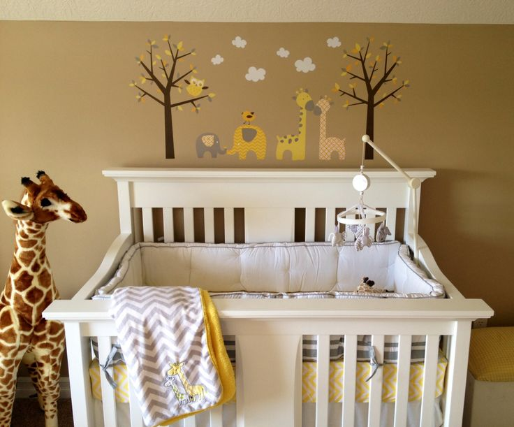 Gray Yellow White Amp Tan Nursery With Giraffe And
