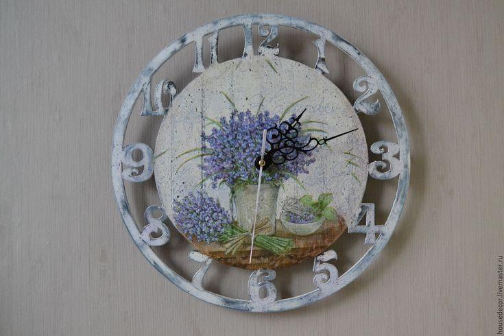 """Купить Часы """"Прованс"""" - белый, часы настенные, часы, часы интерьерные, часы прованс, лаванда"""
