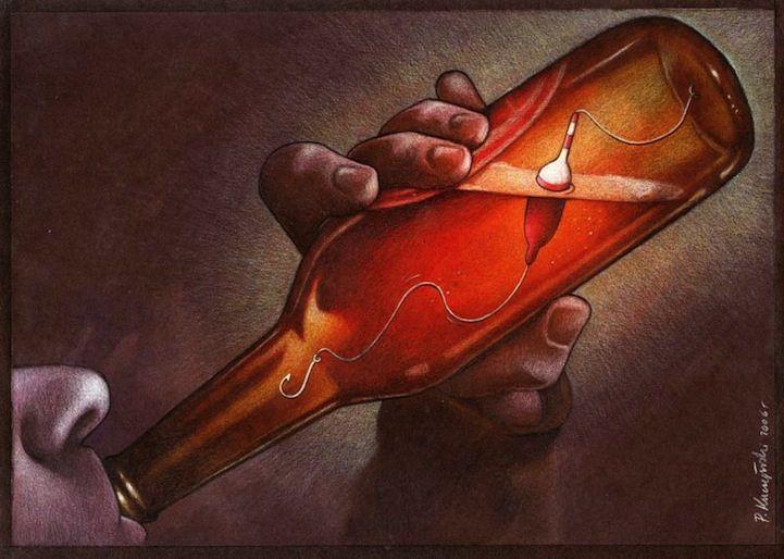 Una drammatica illustrazione dell'alcolista che bevendo si autocondanna a morte. Le ciniche illustrazioni di Pawel Kuczynski - Focus.it