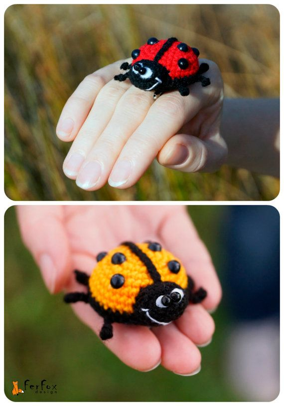 Ladybird Brooch, ladybug pin, spring jewelry, crochet brooch, kids jewelry, funny brooch, insect pin