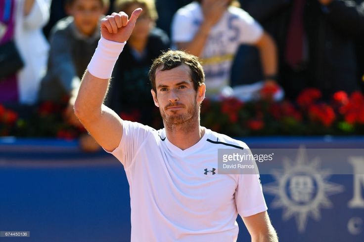 Andy Murray of Great Britain celebrates after his victory against Albert Ramos-Vinolas of Spain in the quarter-final on day five of the Barcelona Open Banc Sabadells in the quarterfinal on day five of the Barcelona Open Banc Sabadell on April 28, 2017 in Barcelona, Spain.