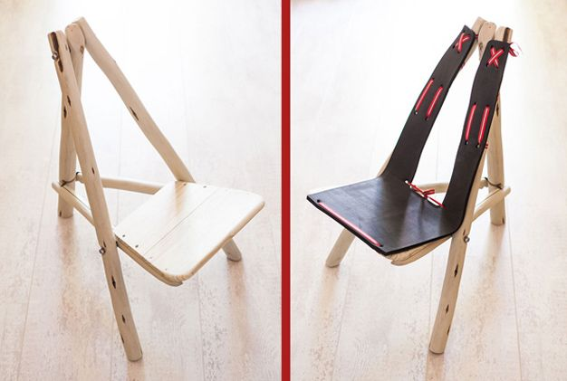 Flat pack wood & stainless steel chair, perfect for the outdoors and in the house!