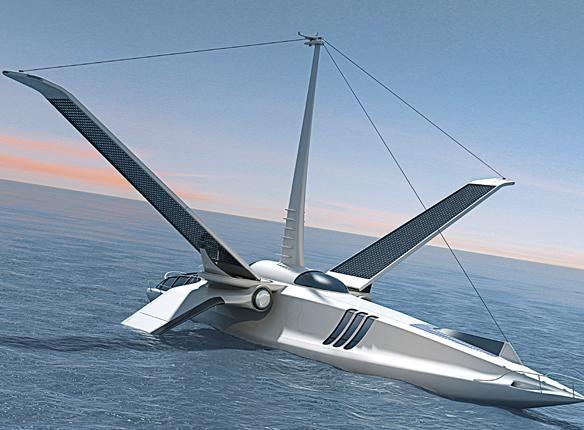 태양에너지로 항해하는 전투기 모형태의 요트 웬지 이륙할 것만같은 느낌이 든다.