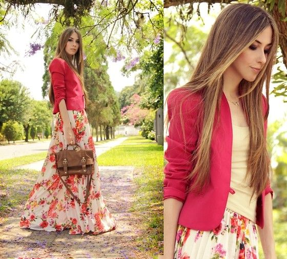 Long flowered skirt, modest summer wear