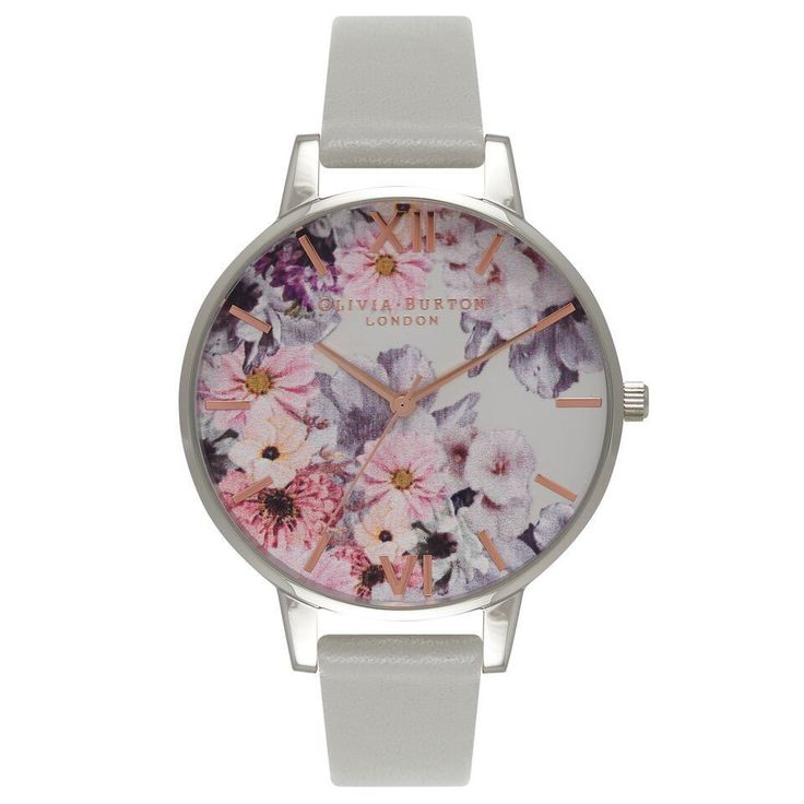 Olivia Burton Enchanted Garden OB15FS76 Silver/Grey Quartz Womens Watch Brand: OLIVIA BURTON Band Color: Grey Band Material: Leather Case Diameter (MM): 38 Case Material: Stainless Steel Clasp: Buckle