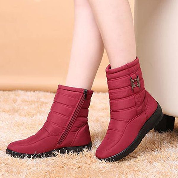 US Size 5-11 Winter Women Down Cloth Snow Boots Keep Warm Plush Flats - US$39.89