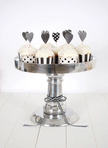 Cupcake bakje wit met zwart gestreept | Cupcake bakjes | 100% leuk