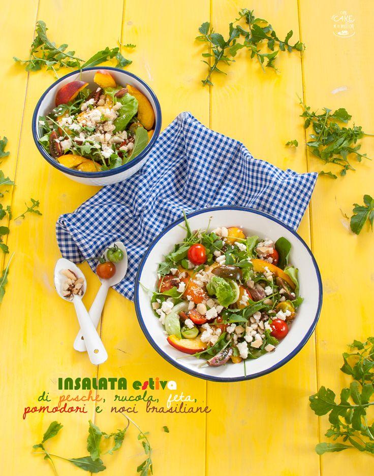 Insalata estiva di pesche, rucola, feta, pomodori e noci brasiliane_ Summer salad withe peaces,  arugula, feta, tomatoes and Brazil nuts