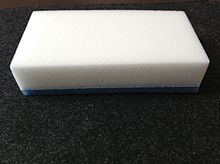 Apparently Mr Clean Magic Erasers are just this stuff called Melamine Foam. You can buy it in bulk on Amazon for WAY less than Mr Clean brand name!  30 sponges for $6.00!  Melamine foam - Wikipedia.