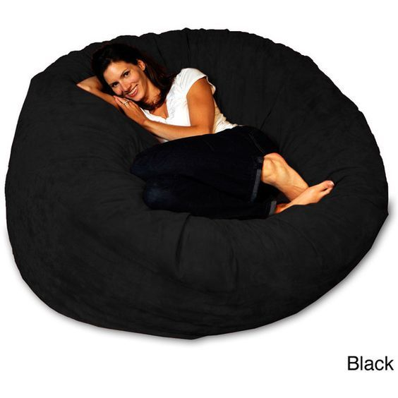 5-foot Memory Foam Bean Bag Chair ($192) ❤ liked on Polyvore featuring home, furniture, chairs, black, black chair, black furniture, black bean bag chair, memory foam bean bag chair and colored bean bags