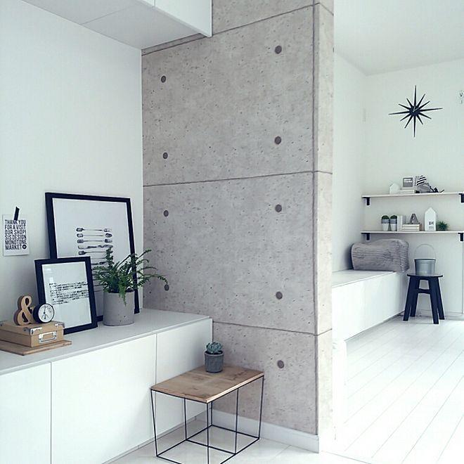 壁 天井 壁紙張り替え モノトーン Diy 白黒 などのインテリア実例