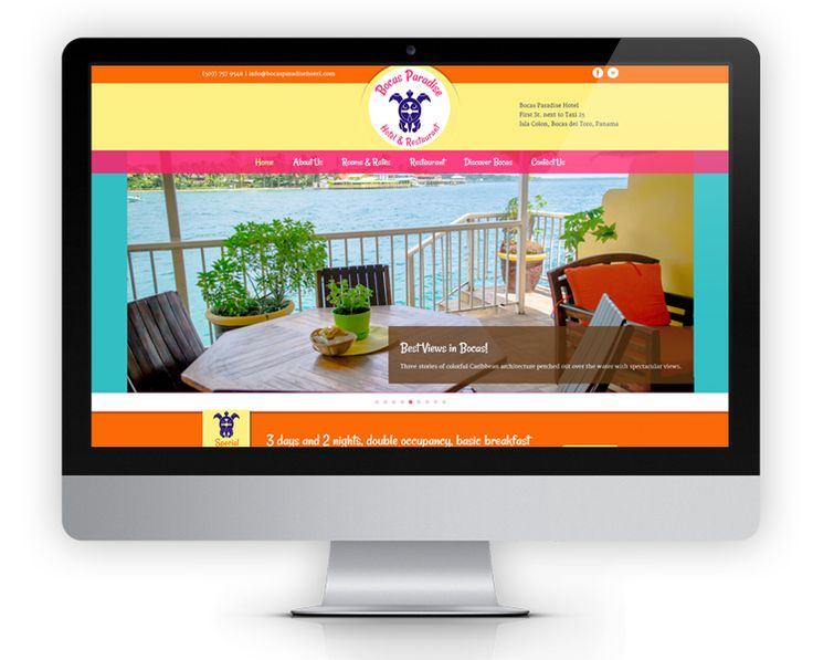 The Bocas Paradise Hotel website features a reservation plugin, interactive restaurant menu and hotel staff profiles. The design features bright tropical colors that reflect the Caribbean island lifestyle of Bocas del Toro.