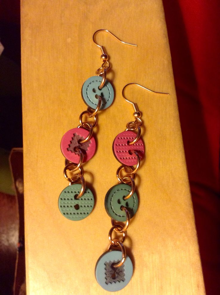 Earrings with buttons and rose gold!!!!