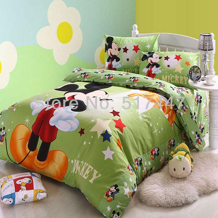 Микки минни маус мультсериала зеленый комплект постельных принадлежностей 4 шт. одеяло пододеяльник взрослых детей хлопок одеяла наволочка