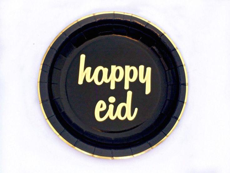 Papieren bordjes Happy Eid zwart goud (10st)