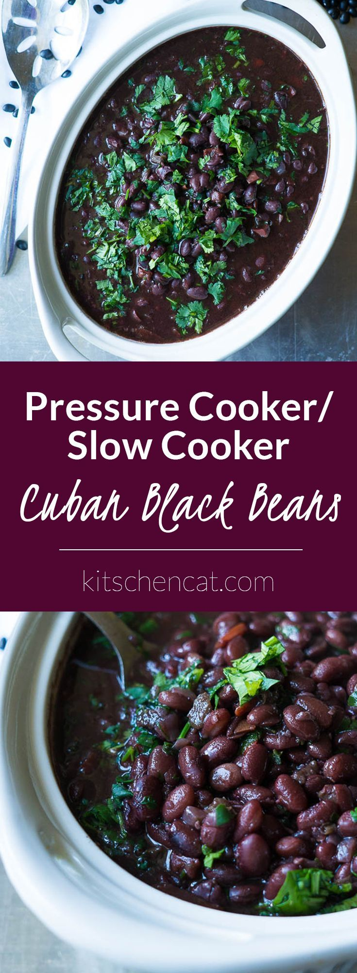 These Pressure/Slow Cooker Cuban Black Beans are filled with lime juice, a trio of red bell pepper, jalapeño, and red onion, and finished off with bunches of fresh cilantro!