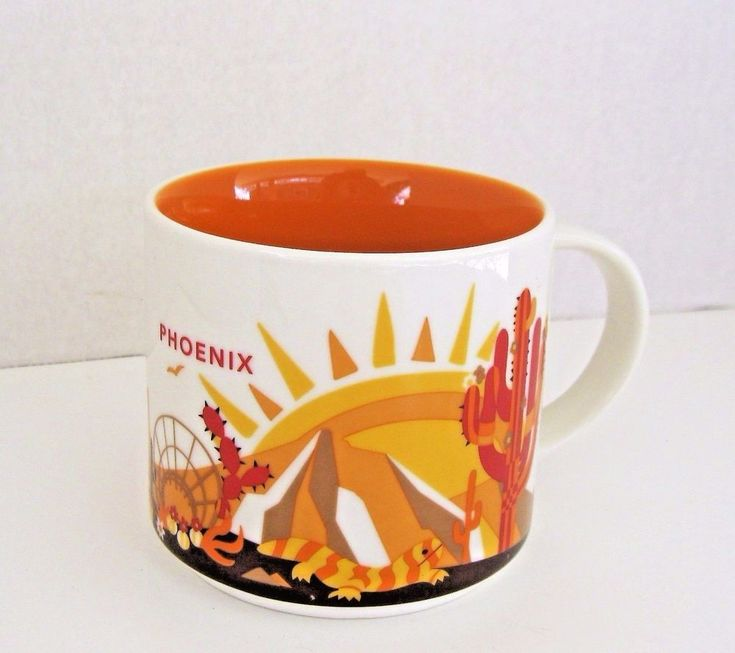 Starbucks Phoenix You Are Here Collection Coffee Cup Tea Mug 14 Oz Orange #Starbucks