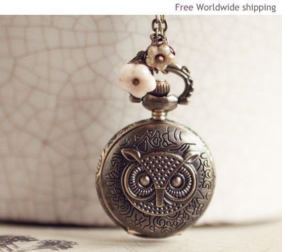 Owl Steampunk Pocket Watch Necklace