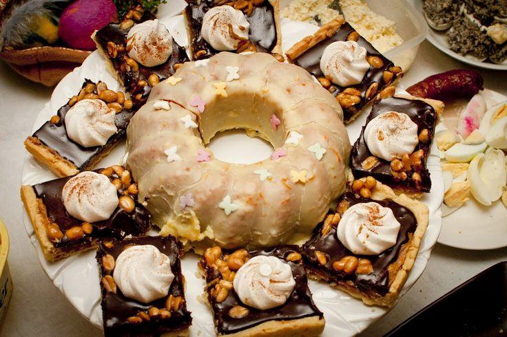 Polish Easter cakes. Caramel peanuts and chocolate Mazurek and almond Babka.