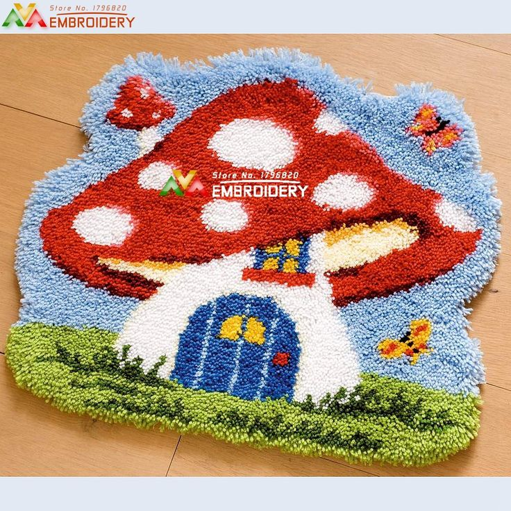 Elegant Latch Hook Rug Kits DIY Needlework Unfinished Crocheting Rug Yarn Cushion  Mat Embroidery Carpet Rug Mushroom