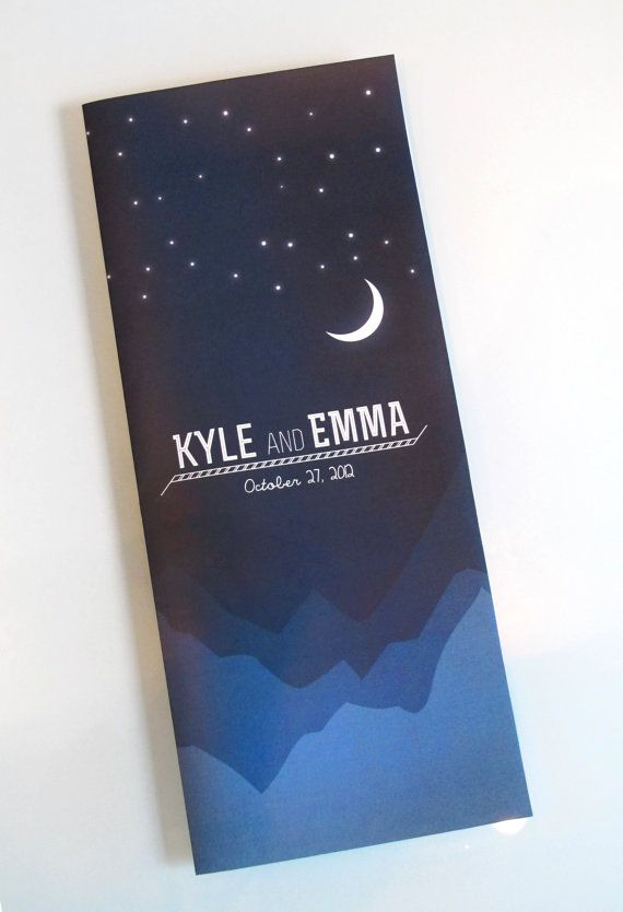 Mountains, moon, and stars wedding invite set. This set can be fully customized to match the style of your wedding.